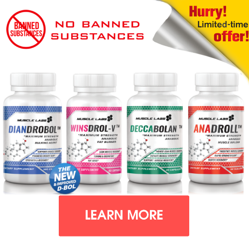 "4 bottle of legal steroids with no banned substances with a ""learn more"" button."